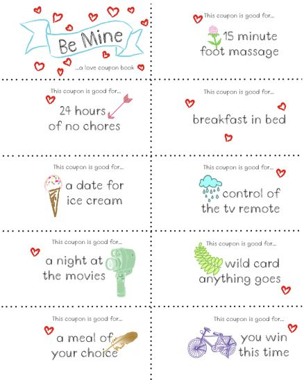 Last Minute Valentine Free Coupon Book Printable relationships