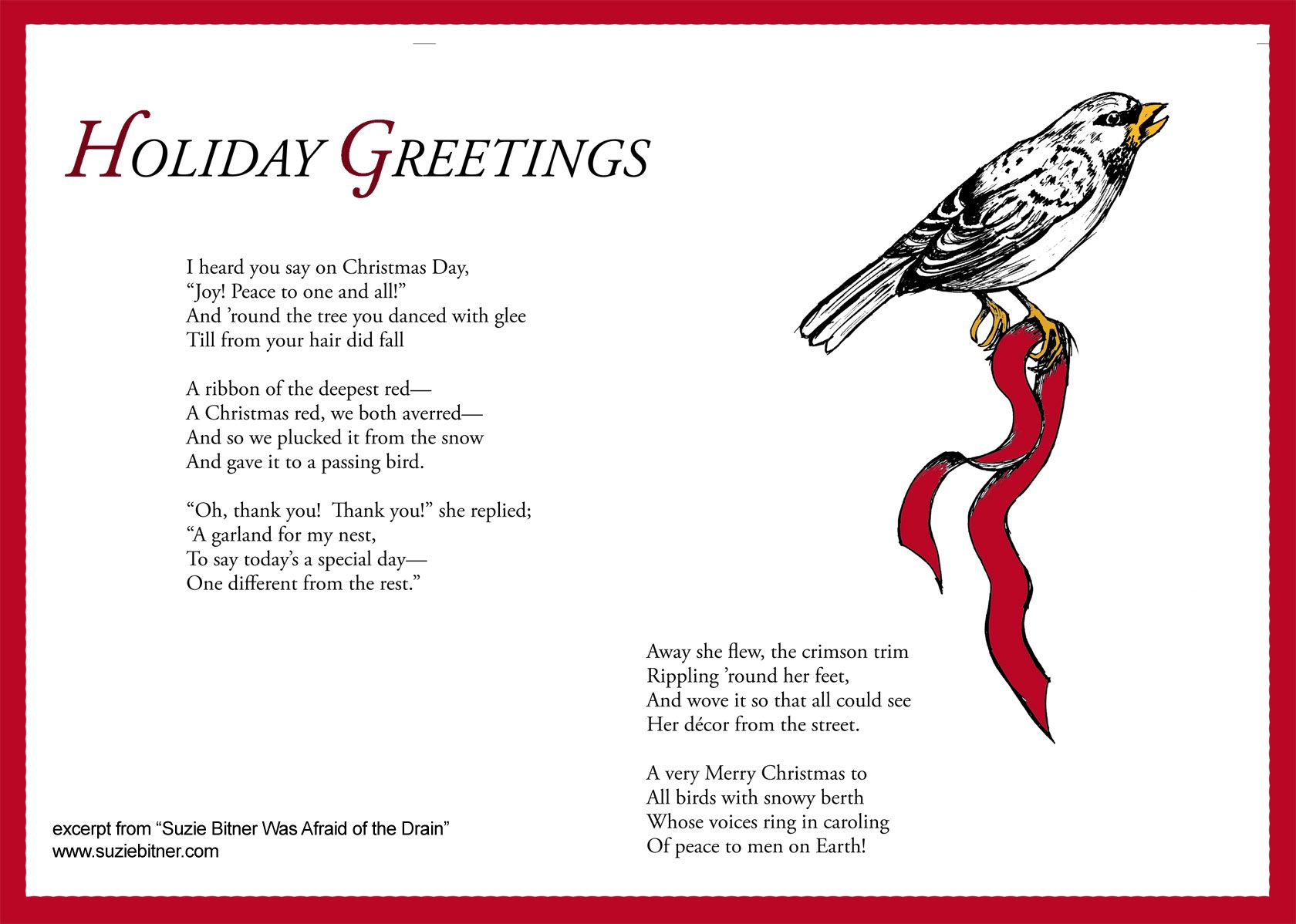 Holiday greetings poem childrens poem for winter great for school holiday greetings poem childrens poem for winter great for school excerpt from suzie bitner was afraid of the drain m4hsunfo