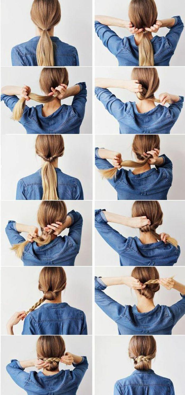 Blaues hemd pferdeschwanz geflochtene hochsteckfrisur blonde