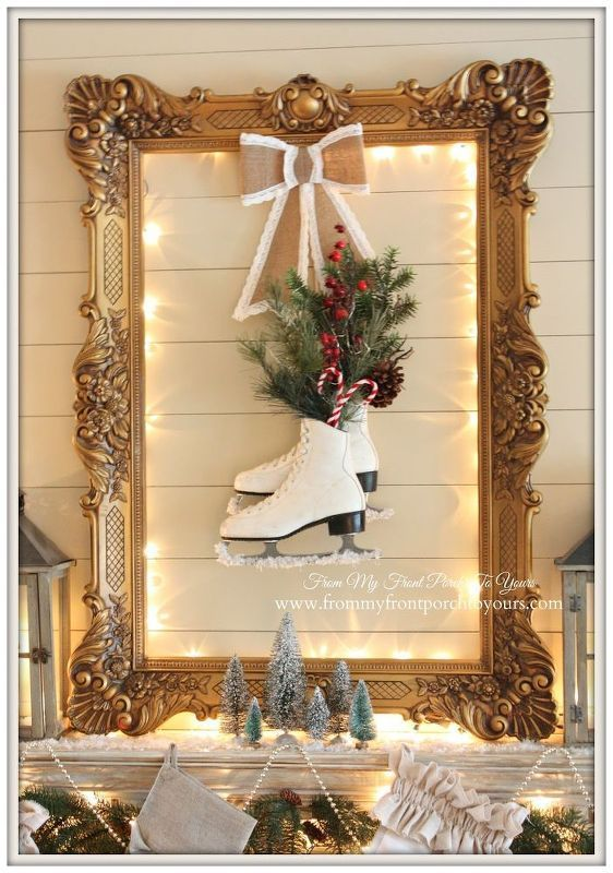 french farmhouse vintage christmas mantel, christmas decorations ...