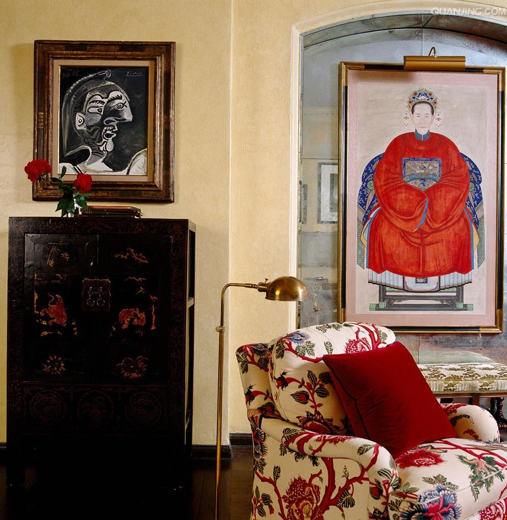 A 19th century Chinese ancestral portrait and a lacquered Chinese ...