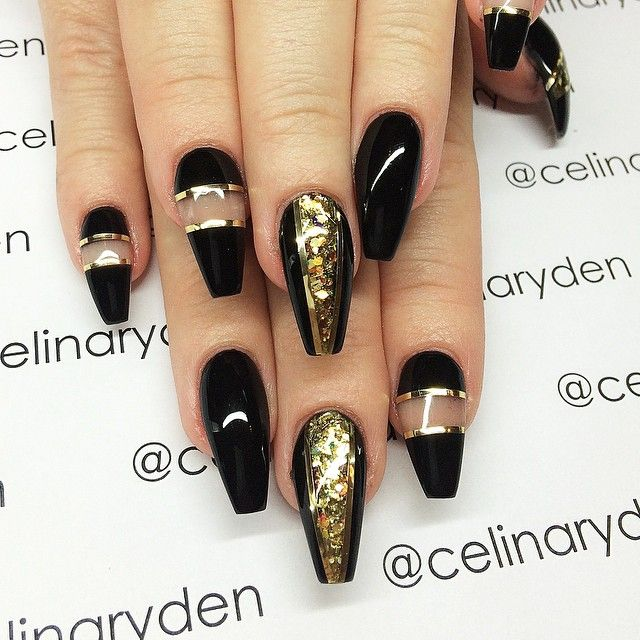 Black And Gold Coffin Nails Nail Designs Trendy Nails Nails
