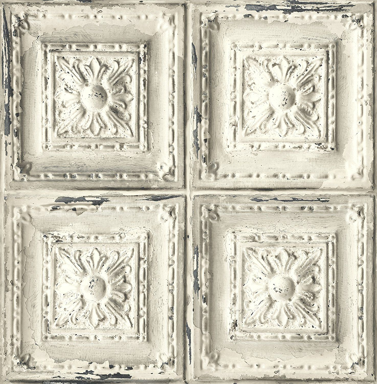 Distressed Ceiling Tile Wallpaper. (White & Grey