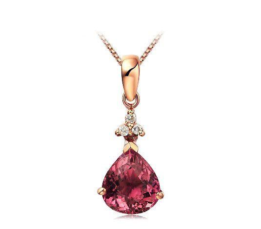 1.565ct tourmaline 18K diamond pendant