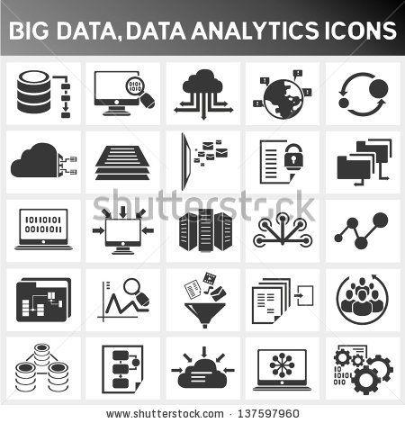Big Data Icon Set Data Analytics Icon Set Cloud Computing Icon Set By Phipatbig Via Shutterstock Data Icon Technology Icon Big Data