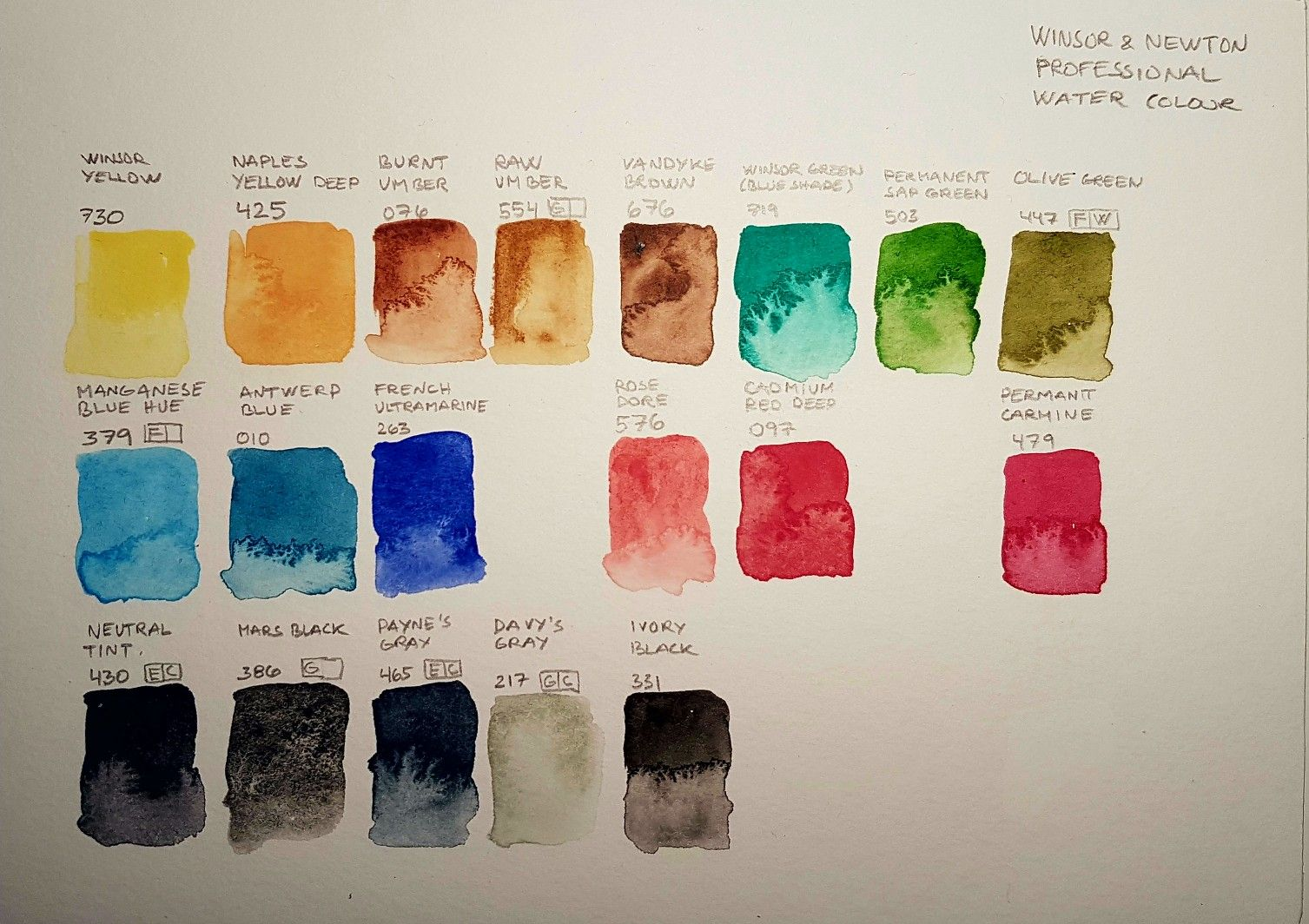 My Winsor Newton Pro Water Colour Palet With Images Pen And