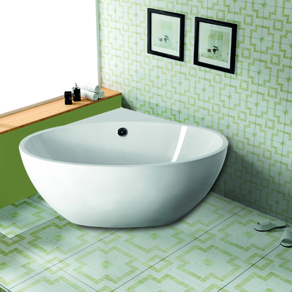The saia corner tub delivers spa like style with its freestanding form providing you with - Corner tub bathrooms design ...