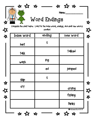 S, ED, ING Worksheet (Inflected Endings) | Worksheets, Word work and ...