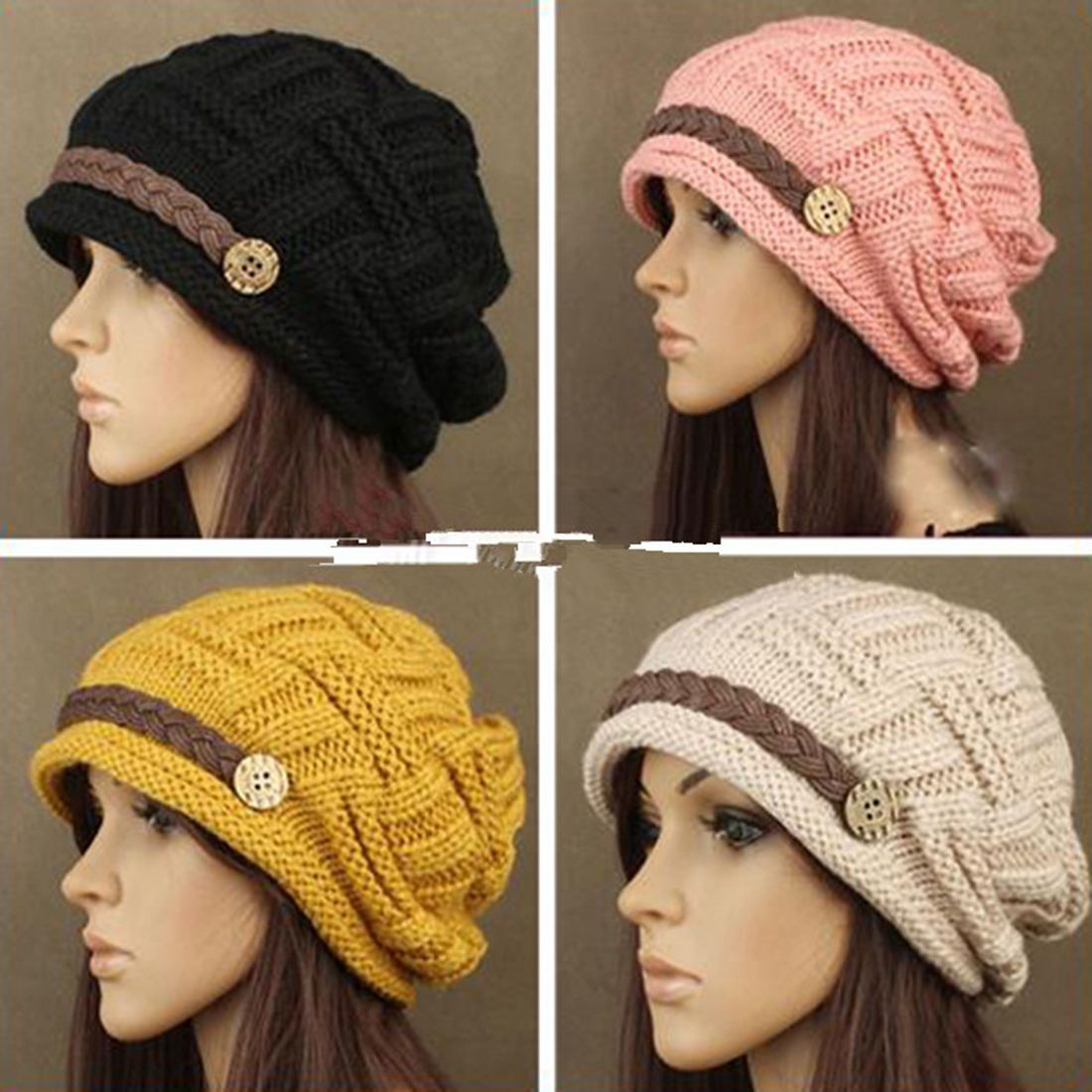 d2baed5b299 7.95AUD - Women Knitted Winter Warm Ski Slouch Oversized Beanie Cap Hat  Black Wool Girls  ebay  Fashion