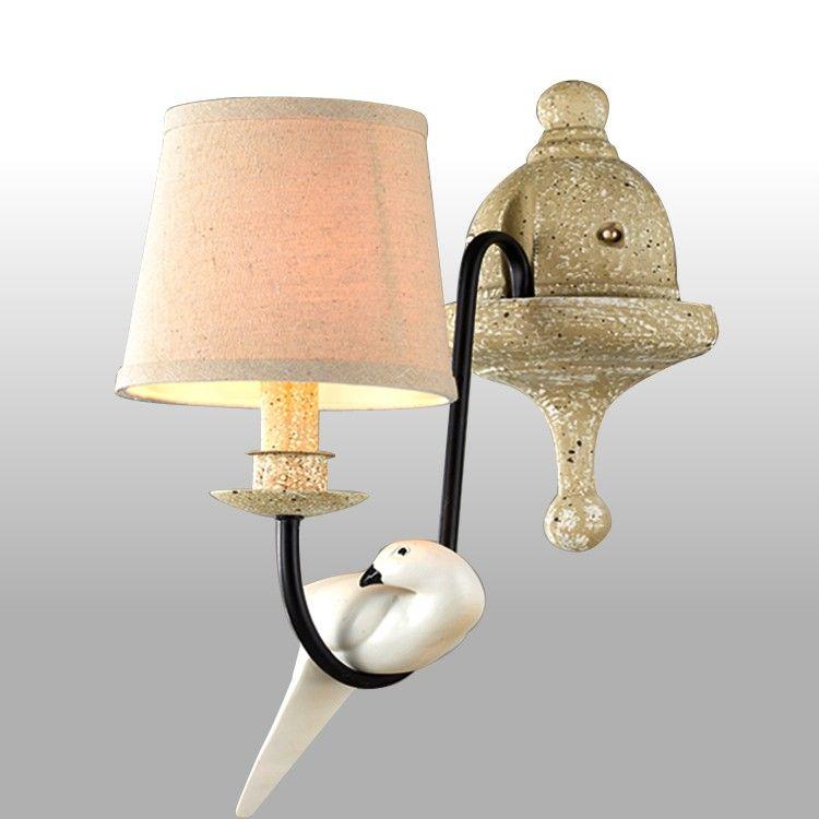 applique murale abat jour et oiseau d coratif luminaire pour chambre luminaire chambre. Black Bedroom Furniture Sets. Home Design Ideas