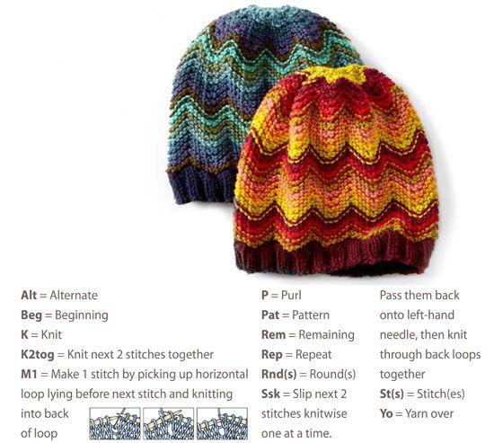 Chevron Hat Knitting Pattern Free Knitting Hats Pinterest