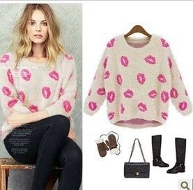 FREE SHIPPING WINTER SPRING FEMALE SMOOTH MOHAIR SEXY LIPS PRINT KNITTED PULLOVER SWEET CASUAL SWEATER OUTWEAR KISS