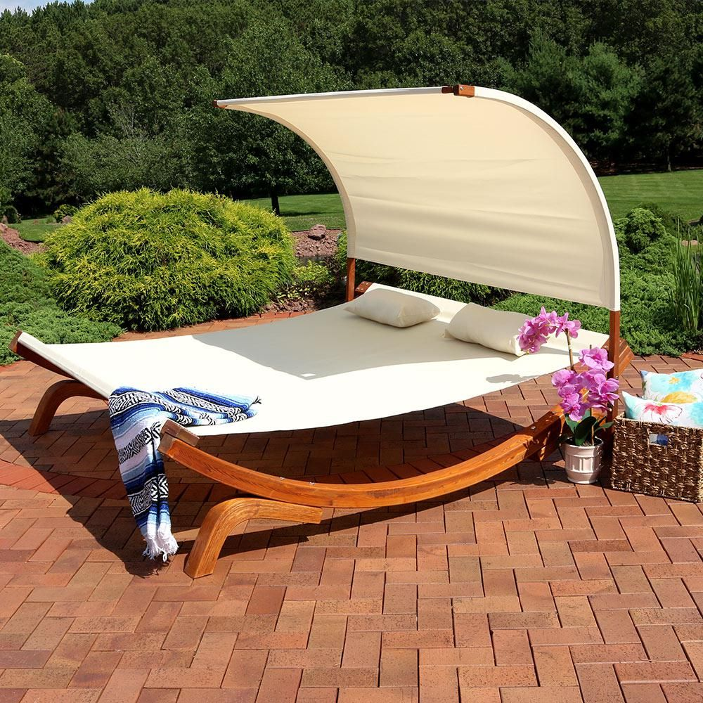 Sunnydaze Decor 2 Person Natural Wood Outdoor Chaise Lounge With Canopy Wsn 620 The Home Depot Outdoor Daybed Outdoor Chaise Outdoor Chaise Lounge