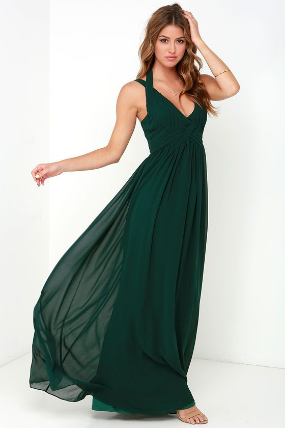 6eefe4bcf1 Strike a Minerva Dark Green Maxi Dress at Lulus.com!