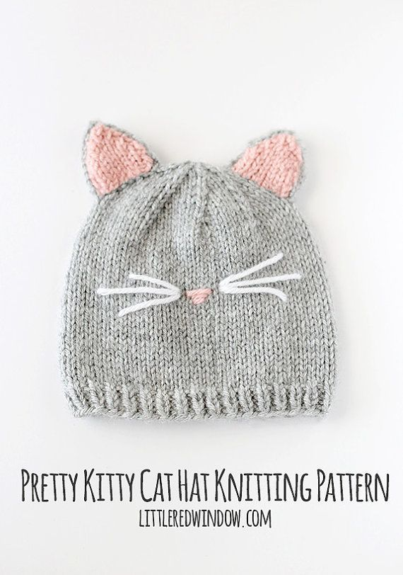 Baby Knitting Patterns Kitty Cat Baby Hat KNITTING PATTERN knit cat ...