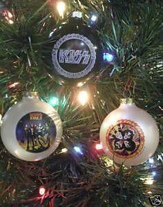 kiss rock n roll christmas ornaments 3pc set