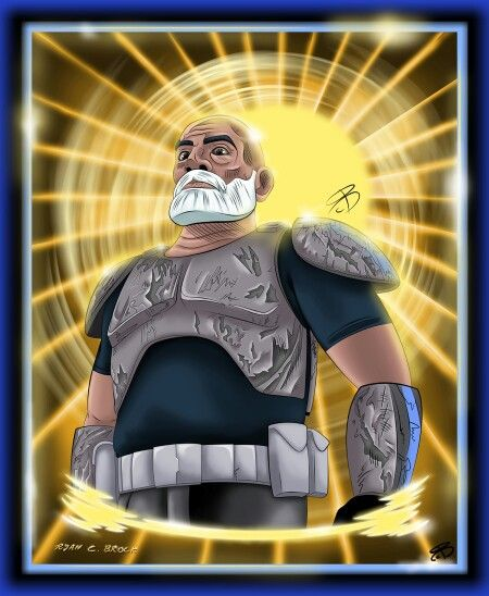 """#RCBrock Here!  Its #FanArtFriday so as always im posting a colored drawing of mine. This week its """"Rex"""".... Captain Rex of the 501 clone battalion. I think i went a little overboard on the background. Made the man almost messianic. #StarWars #StarWarsRebels #Rex"""
