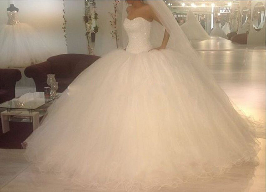 New White Tulle Wedding Dresses Sweetheart Pearls Bridal Custom Made Ball Gowns | eBay