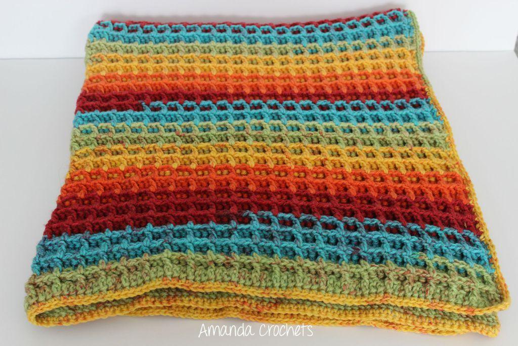 waffle stitch blanket | Things I want to crochet | Pinterest
