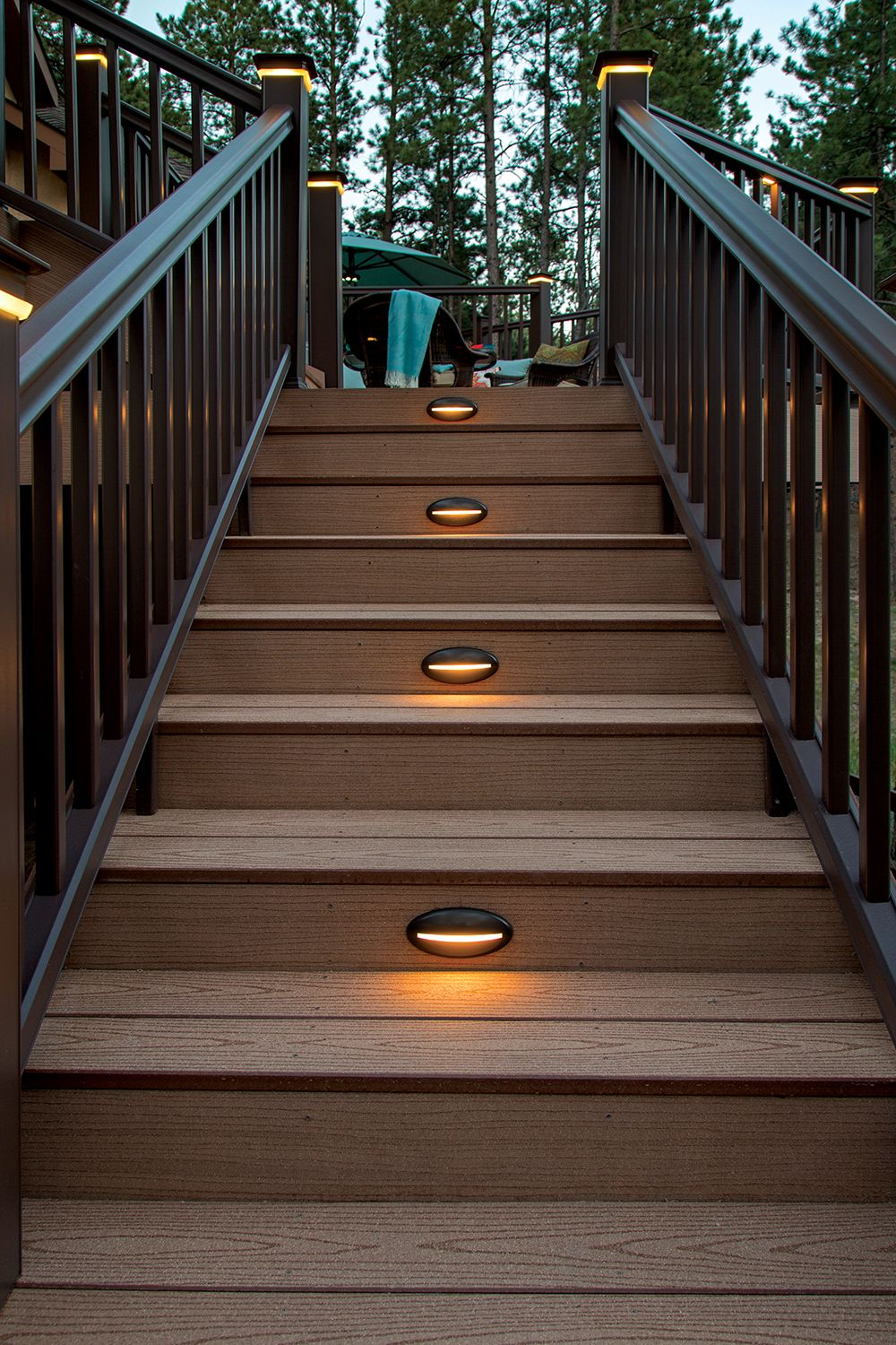 Timbertech Riser Lights Will Help Lead You Safely To Your   Outdoor Deck Stair Railing