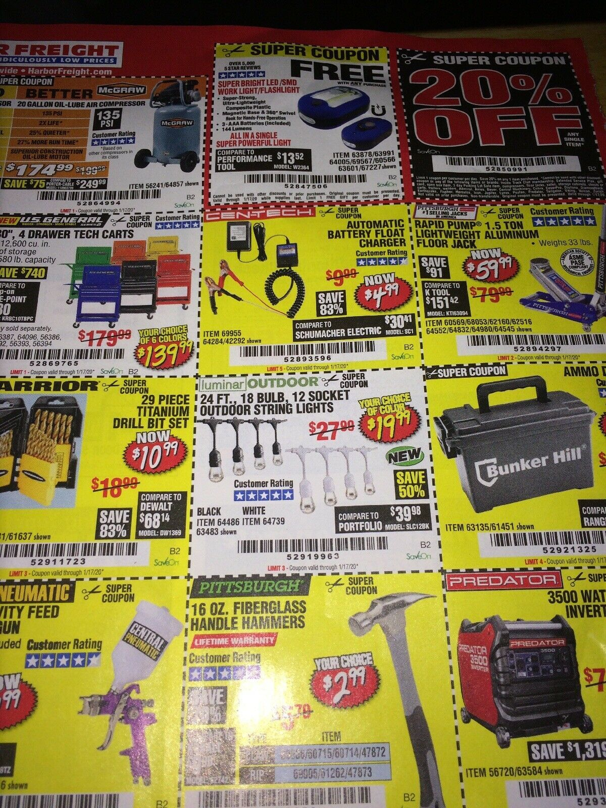 Harbor Freight Discount SUPER Coupons 20 Expires 1/2020