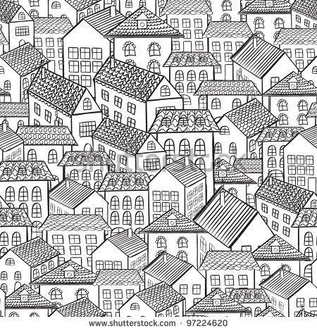Seamless Pattern Town Houses Vector Illustration House