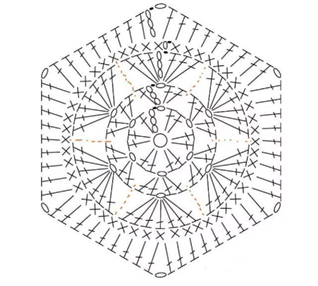 Шестиугольные мотивы крючком со схемами фото 108