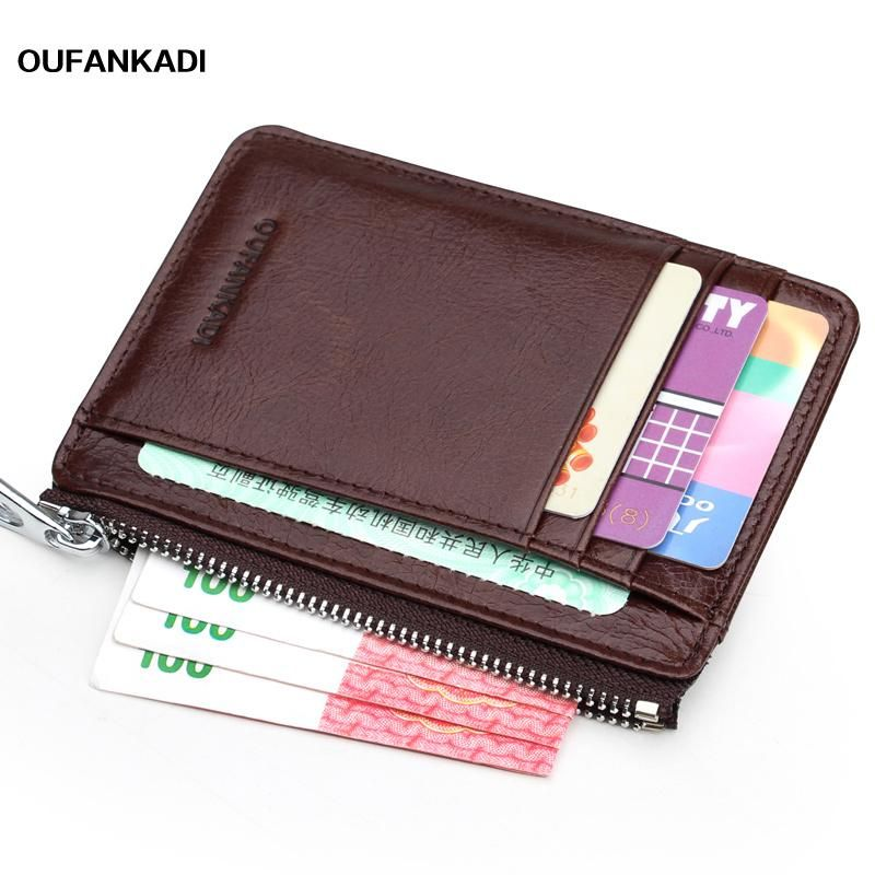 ff0e37bbfe6 Oufankadi MenCard Holder Vintage Genuine Leather Cute Zipper Card Wallet  Small Purse for Men Card Purses. Yesterday s price  US  15.80 (13.71 EUR).