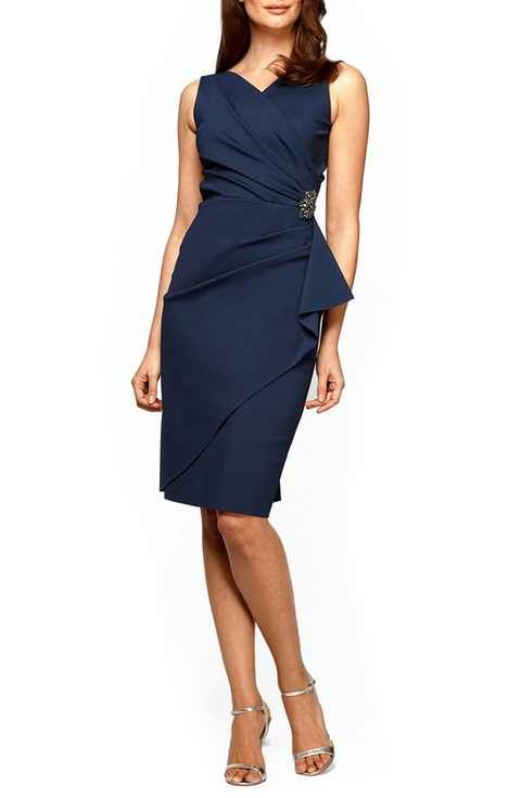 Alex Evenings Side Ruched Dress (Regular & Petite)