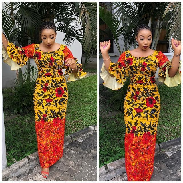 Creative Ankara And Lace Combination Long Gown Style For Beautiful