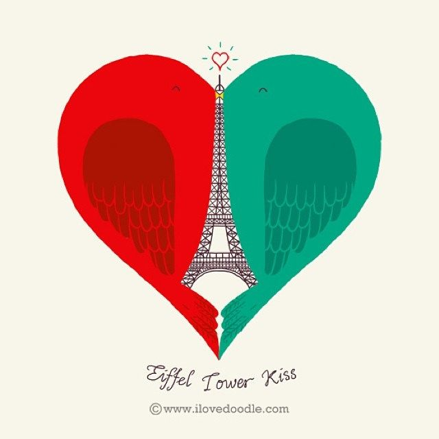 Eiffel Tower Kiss by @Tan Heng Swee #love #valentines #paris #kiss #eiffeltower by ILoveDoodle, via Flickr
