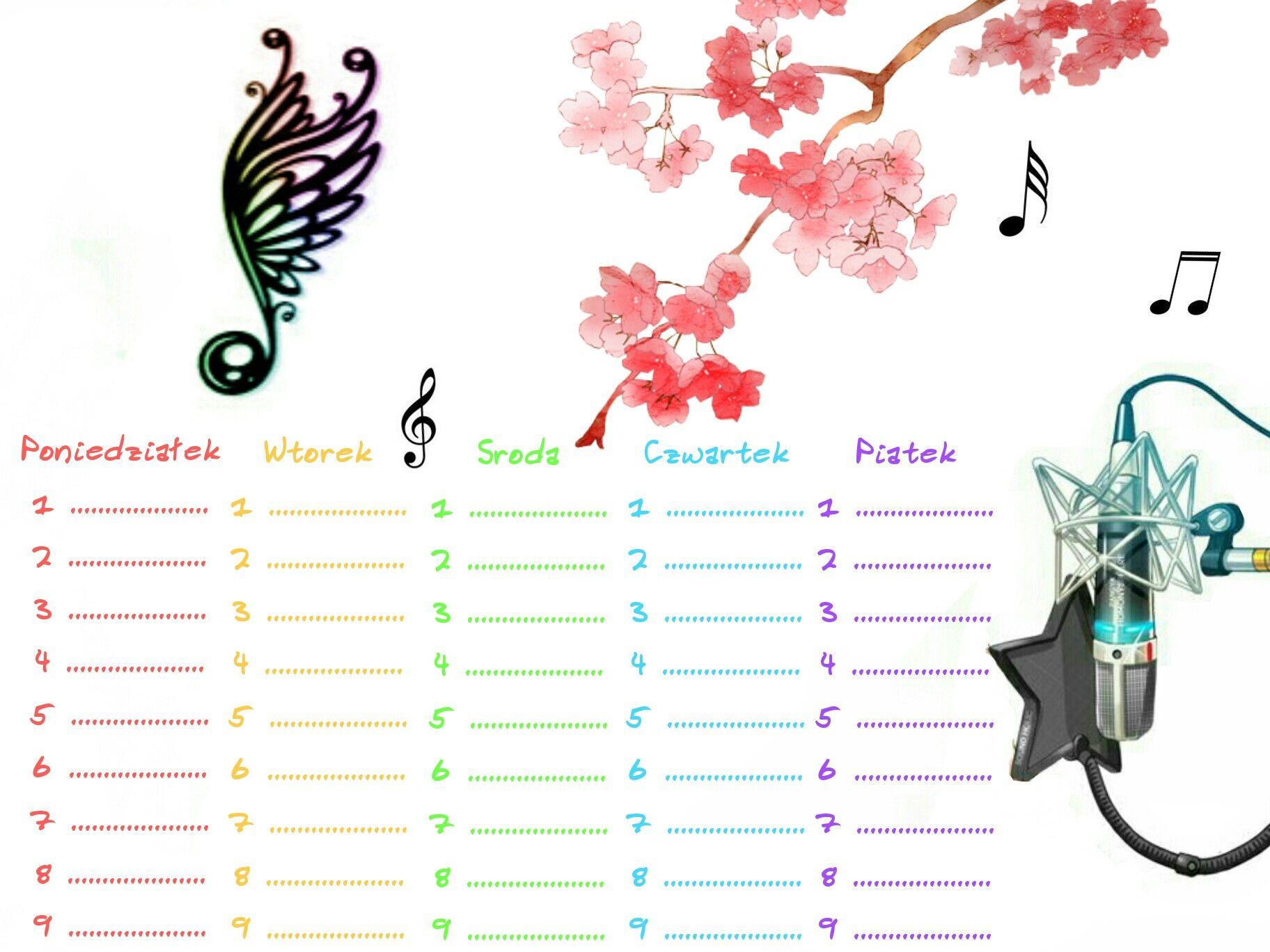 Plan Lekcji Muzyka Tecza Kwiaty School Timetable How To Plan Diy Plans