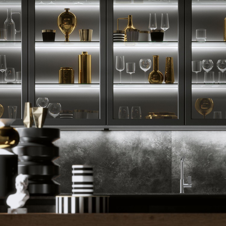 Detail Of The Elegante Bespoke Kitchen With Ossido Nero Ceramic Backsplash And Upper Modern Kitchen Design Glass Kitchen Cabinets Modern Kitchen Glass Cabinets