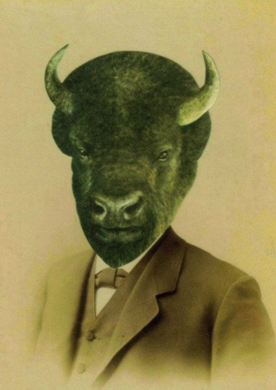 Buffalo Art Anthropomorphic Print of Paper Collage Bison Head ...