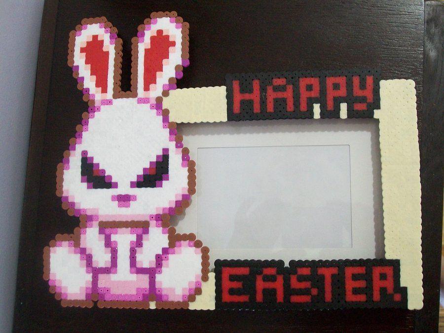 Evil Bunny Perler Frame by yumeleona23 | Perler beads | Evil