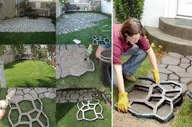 Pavimento per giardino con stampo per cemento idea fai da te