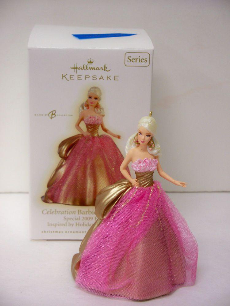 Barbie Christmas Ornament.Nib Barbie 2009 Hallmark Celebration Holiday Barbie Christmas