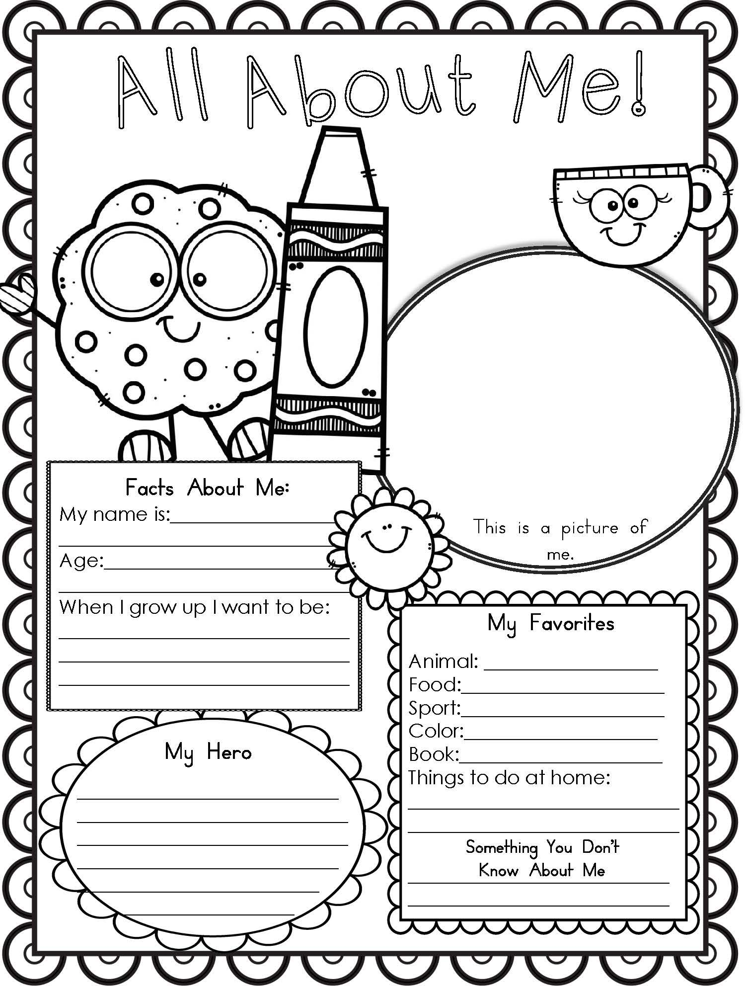 Candid image with regard to all about me free printable