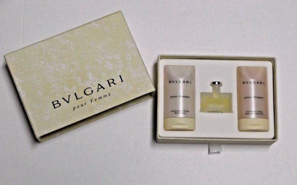 Bvlgari Pour Femme Gift Set .17 oz Perfume 1.0 oz Body Lotion 1.0 oz Shower  Gel  Bvlgari 909d23b99e8