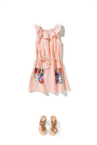 Candy stripe dress with patchwork pockets. Cute tassle sandles too.