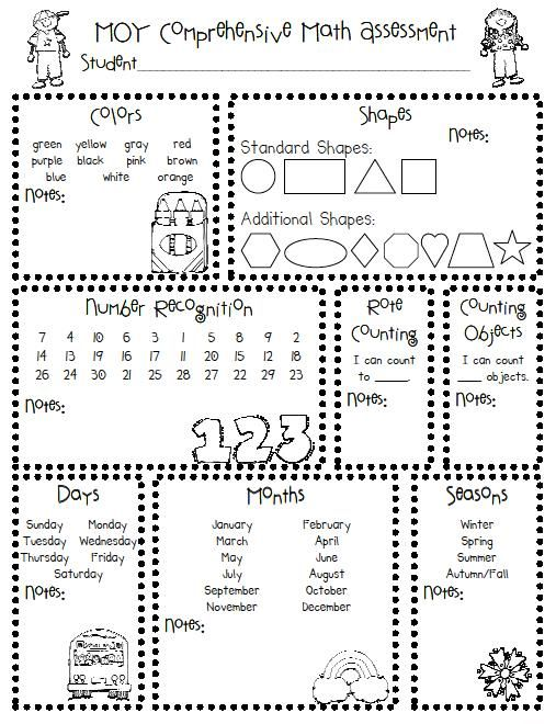 prek assessment sheet the polka dot patch has these great kindergarten assessments that can. Black Bedroom Furniture Sets. Home Design Ideas