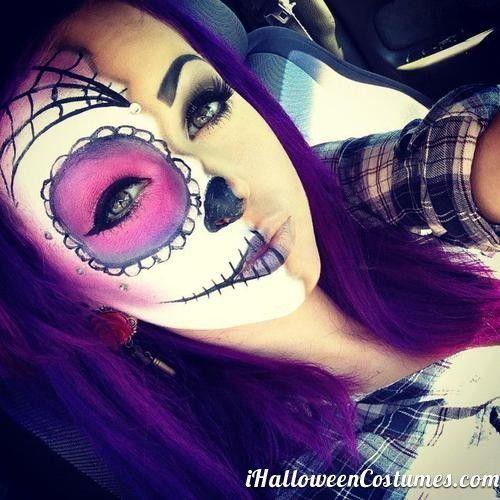 half face makeup skull for Halloween day » Halloween Costumes 2013
