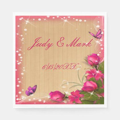 Rustic Wood Pink Floral Butterfly Wedding Paper Napkins | Zazzle.com