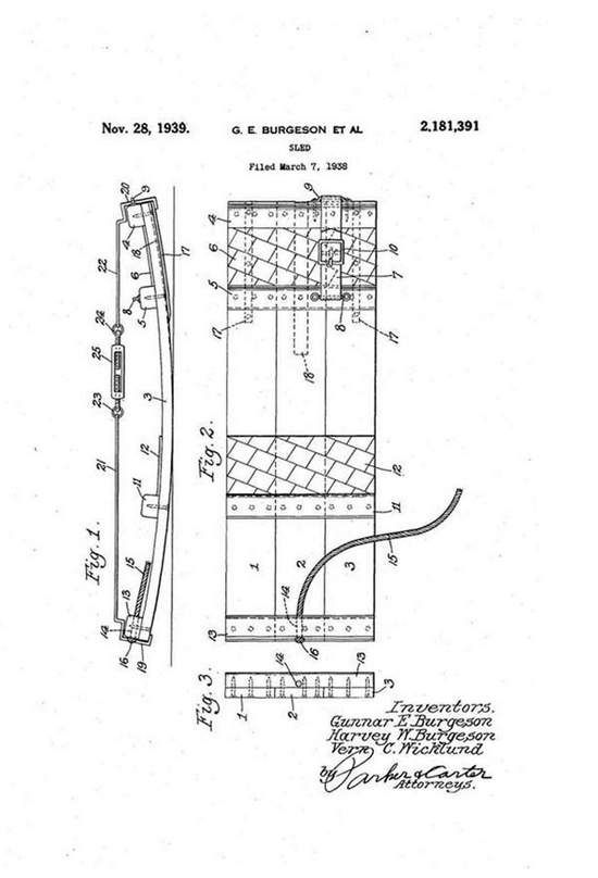 Shown here is the original patent (No. 2,181,391) given to Gunnar & Harvey Burgeson and Vern Wicklund for the Sno-Surf in 1939.