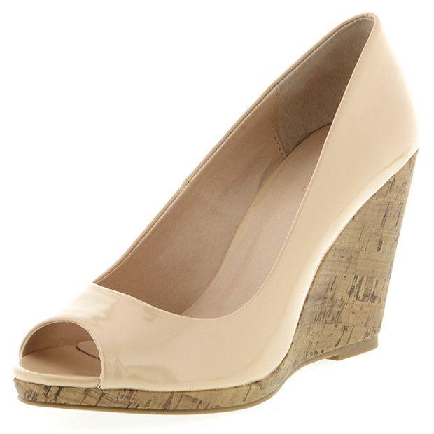 Pisa Cork Wedge Peep Toe Shoes-Nude