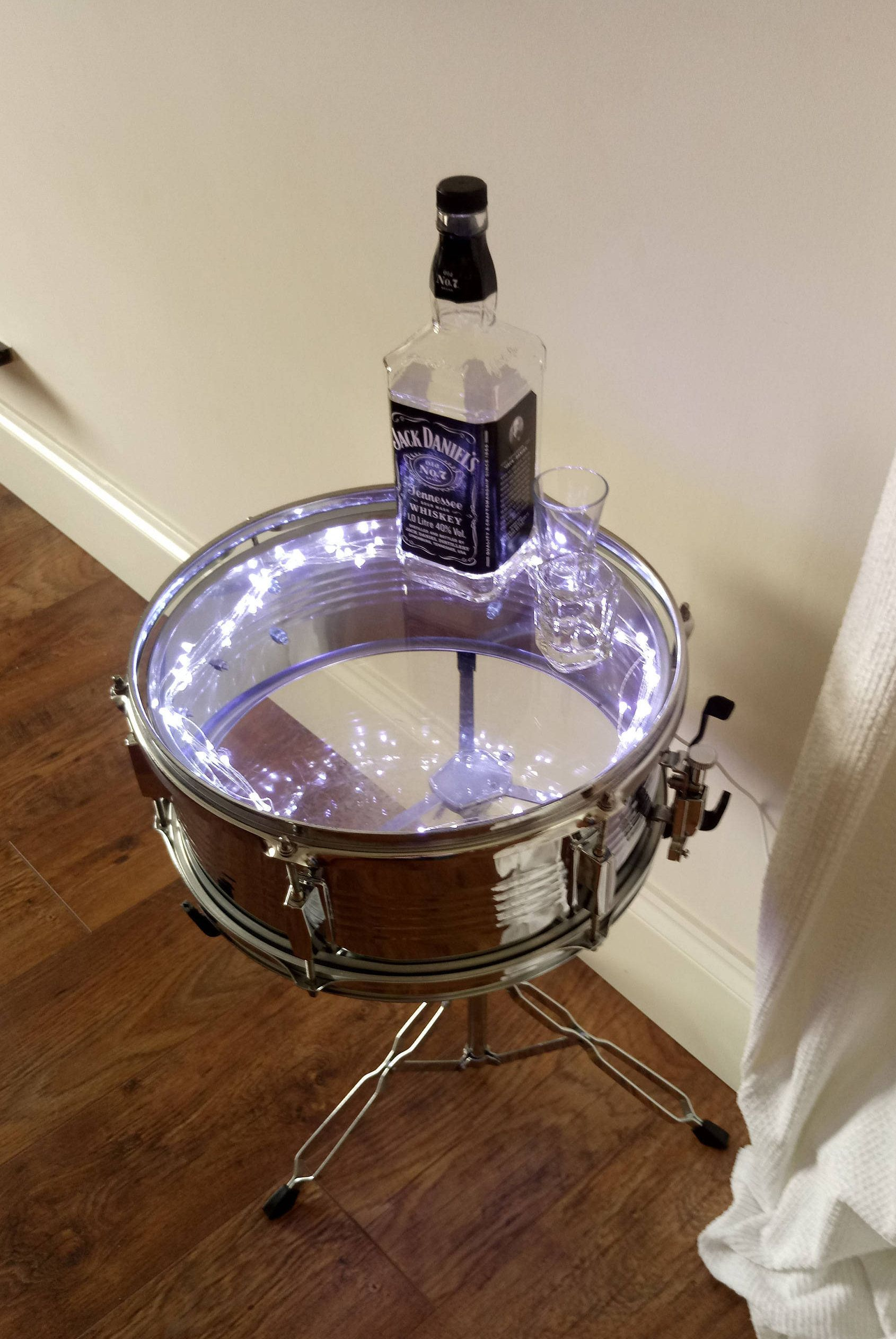 Upcycled Furniture. Drum Glass End Table with Beautiful