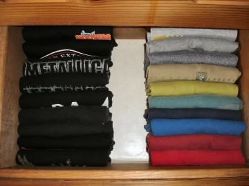 T Shirts Stacked Vs Filed In The Bedroom Dresser Drawer