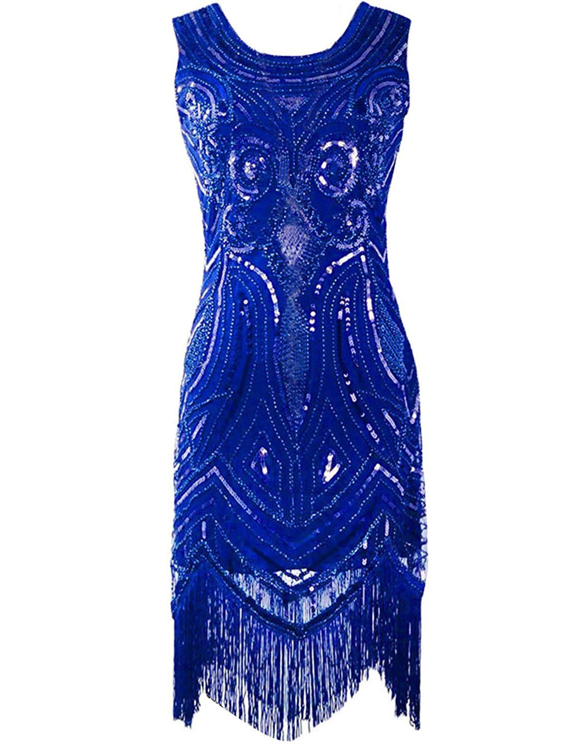 KAYAMIYA Women\'s 1920S Sequined Beaded Embellishment Fringe Gatsby ...
