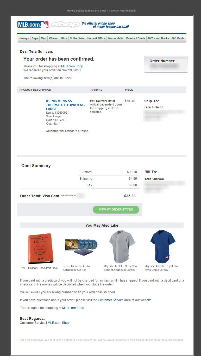 Sl Order Confirmation Xxxxxx Second Order Confirmation Email From Mlb Com Holiday 2013 Book Gifts Baseball Shopping