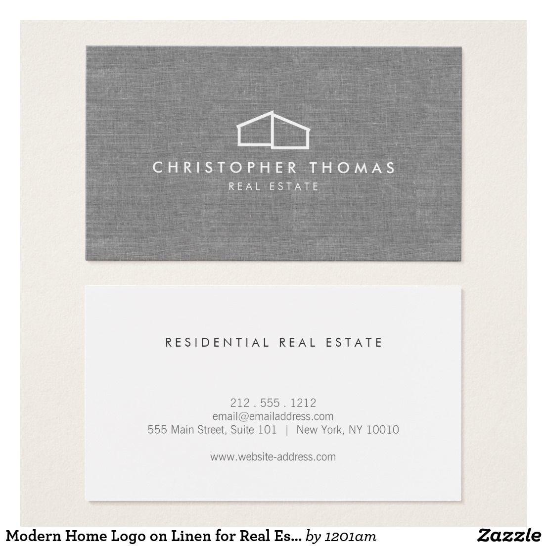 Modern Home Logo Real Estate Realtor Gray Linen Business Card Zazzle Com Linen Business Cards Realtor Business Cards Home Logo